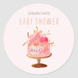 Pink Floral Cake Its a Girl Baby Shower Sticker
