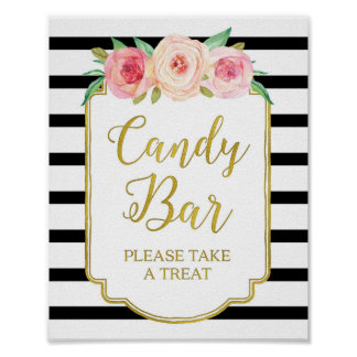 Pink Floral Candy Bar Sign Gold Black Stripes