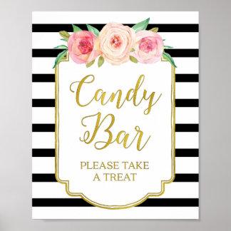 Pink Floral Candy Bar Sign Gold Black Stripes Poster