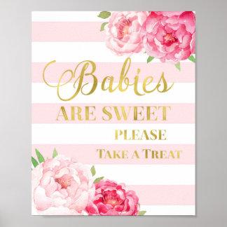 Pink Floral Candy Bar Sign Gold Blush Stripes Poster
