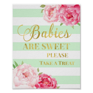Pink Floral Candy Bar Sign Gold Mint Stripes
