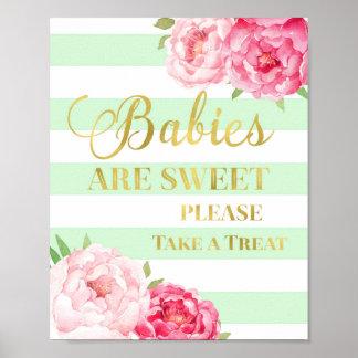 Pink Floral Candy Bar Sign Gold Mint Stripes Poster