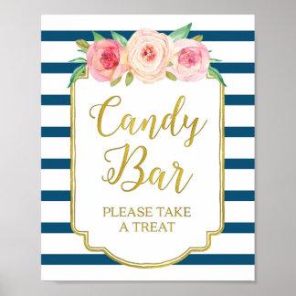 Pink Floral Candy Bar Sign Gold Navy Blue Stripes