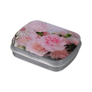 Pink floral carnation flowers photo art. jelly belly candy tin