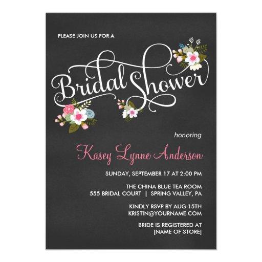 Pink Floral Chalkboard Bridal Shower Invites