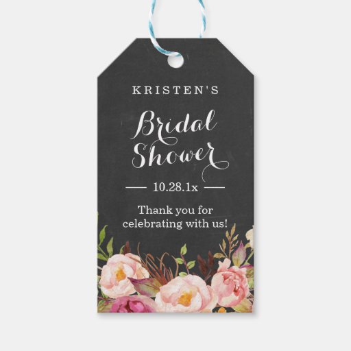 Thank You Wedding Shower Gift : Pink Floral Chalkboard Bridal Shower Thank You Gift Tags Zazzle