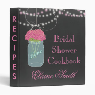 pink floral Chalkboard Mason Jar Recipe Folder 3 Ring Binder