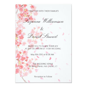 Pink Fl Cherry Blossom Wedding Invitation