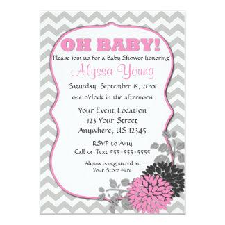 Pink Floral Chevron Baby Shower Invite