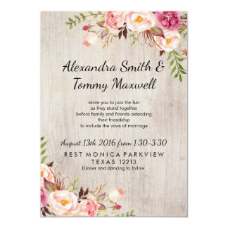 Pink Floral Chic Wedding Card