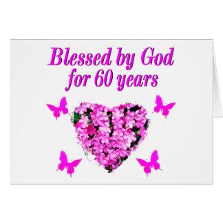 PINK FLORAL CHRISTIAN 60TH BIRTHDAY DESIGN CARD