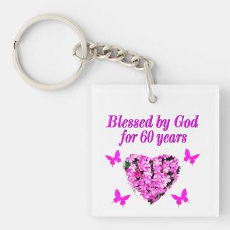 PINK FLORAL CHRISTIAN 60TH BIRTHDAY DESIGN KEYCHAIN