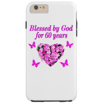 PINK FLORAL CHRISTIAN 60TH BIRTHDAY DESIGN TOUGH iPhone 6 PLUS CASE
