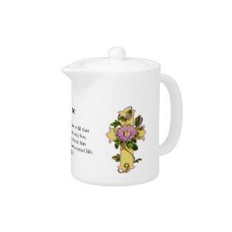 Pink Floral Christian Cross Tea Pot