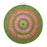 Pink Floral Circles - Green Dragon Skin Brick Wall Dart Board
