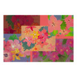 pink floral collage print