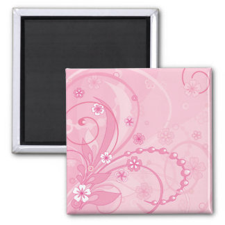 pink floral composition 2 inch square magnet
