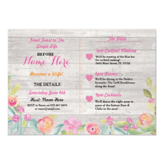 Pink Floral Coral Bridal Shower Itinerary Invite