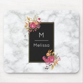 Pink Floral Corner Bouquets on Black Frame Custom Mouse Pad