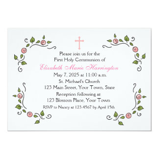 Pink Floral Corners, Religious Card