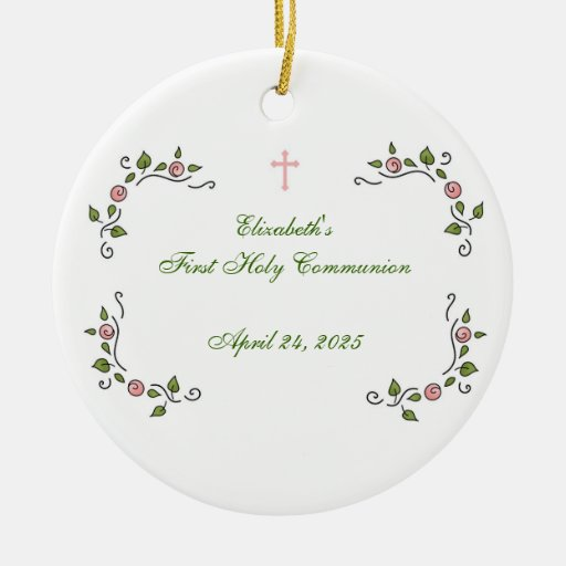 Pink Floral Corners, Religious Christmas Tree Ornament