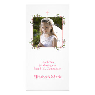 Pink Floral Corners Religious Thank You Photo Card