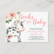 Pink Floral Cow Girl Baby Shower Book Request Enclosure Card