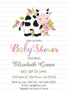 Pink Fl Cow Baby Shower Invitation