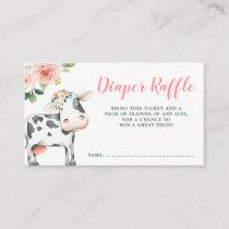 Pink Floral Cow Girl Diaper Raffle Enclosure Card