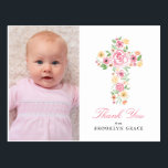 "Pink Floral Cross Baptism / Christening Thank You Postcard<br><div class=""desc"">This one photo Baptism / Christening thank you card features a pink floral watercolor cross with yellows, coral and greenery leaves and foliage. Add a personal message on the back of the postcard. Perfect for any religious event: First Communion, Baptism, Christening or Confirmation. For inquiries about custom design changes by...</div>"