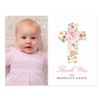 Pink Floral Cross Baptism / Christening Thank You Postcard