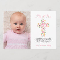 Pink Floral Cross Baptism Photo Thank You