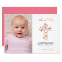 Pink Floral Cross Baptism Photo Thank You Card