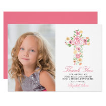 Pink Floral Cross First Holy Communion Thank You Card