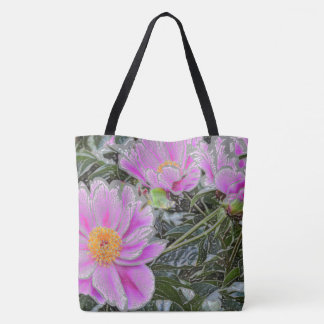 PINK FLORAL CROSS-OVER BODY TOTE BAG