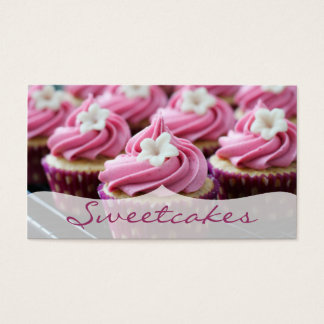 Pink Floral Cupcake Bakery Business Card