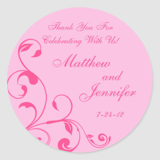 Pink Floral Curls Wedding Favor Labels / Gift Tags Classic Round Sticker