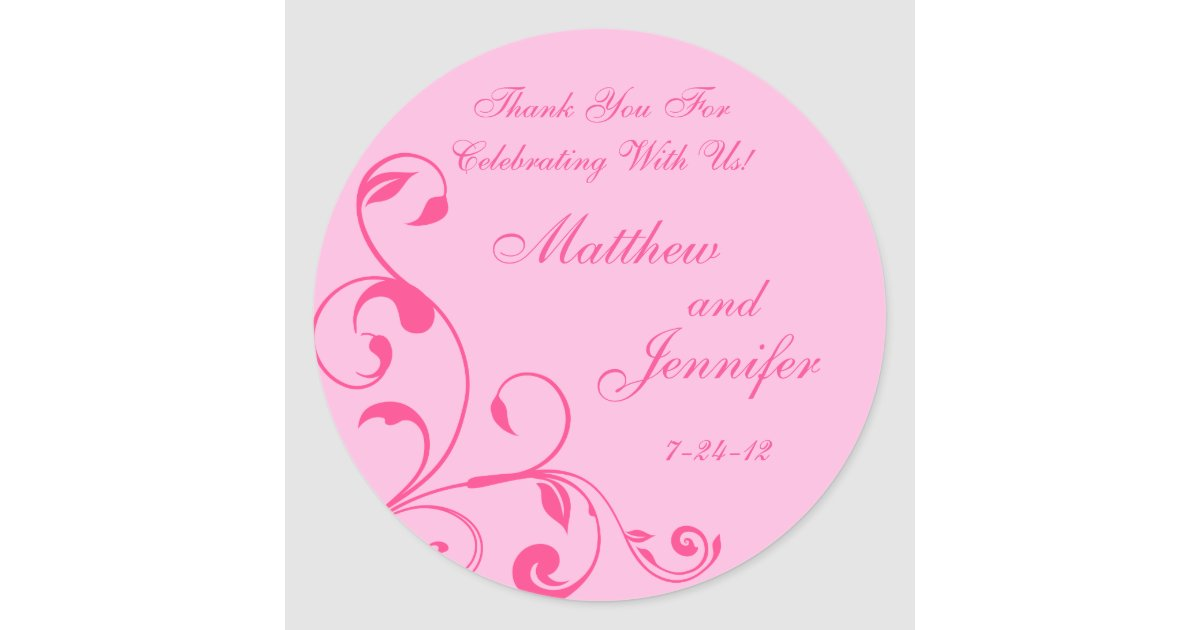 Round Wedding Gift Tags : ... Curls Wedding Favor Labels / Gift Tags Classic Round Sticker Zazzle