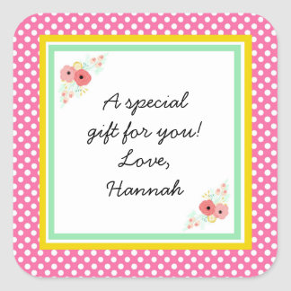 Pink Floral Custom Gift Sticker