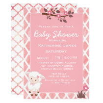 Pink Floral Cute Lamb Baby Shower Invitation