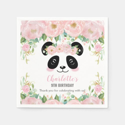 Pink Floral Cute Panda Birthday Baby Party Napkins