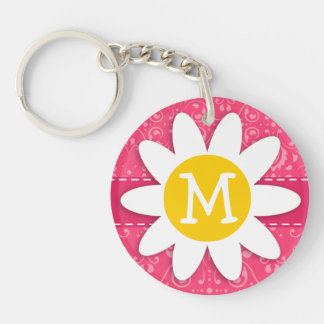 Pink Floral; Daisy Acrylic Key Chains