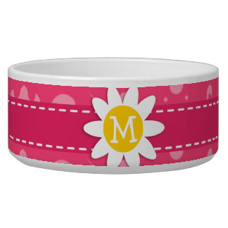 Pink Floral Daisy Pet Water Bowl