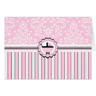 Pink Floral Damask and Stripes Baby Carriage Card