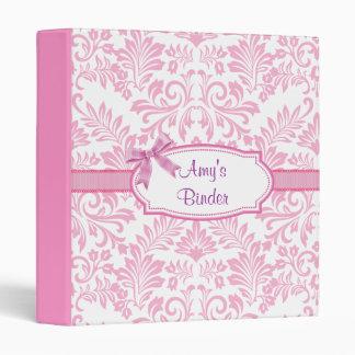 Pink floral Damask Girly Binder