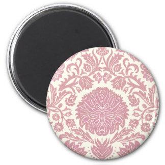 Pink Floral Damask Pattern 2 Inch Round Magnet