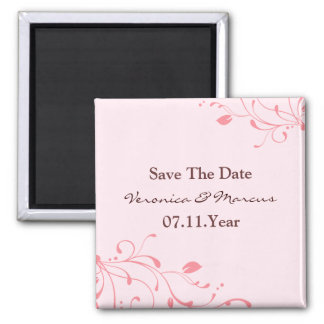 Pink Floral Decal Save The Date Magnet