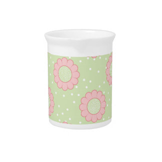 Pink floral design and polka dots beverage pitchers