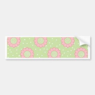 Pink floral design and polka dots bumper sticker