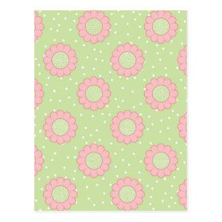 Pink floral design and polka dots postcard
